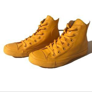Yellow rubber converse hi tops chuck Taylor's
